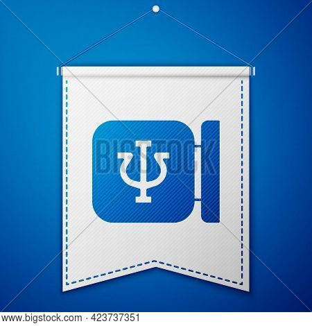 Blue Psychology Icon Isolated On Blue Background. Psi Symbol. Mental Health Concept, Psychoanalysis