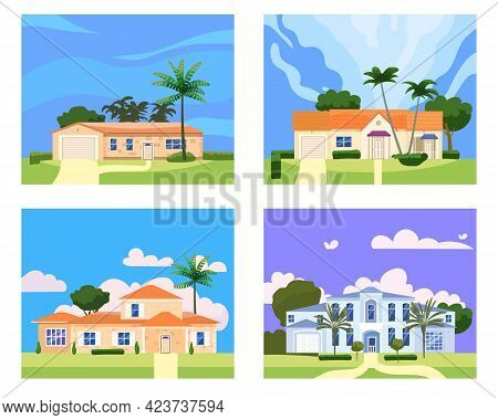Collection Residential Home Buildings In Landscape Tropic Trees, Palms. House Exterior Facades Front