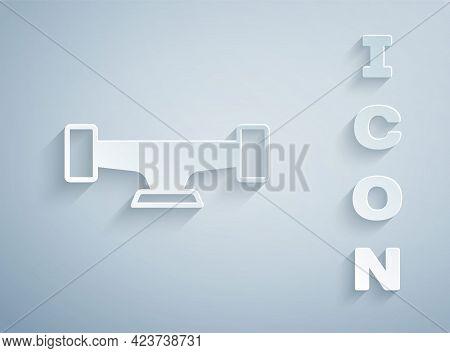 Paper Cut Skateboard Wheel Icon Isolated On Grey Background. Skateboard Suspension. Skate Wheel. Pap