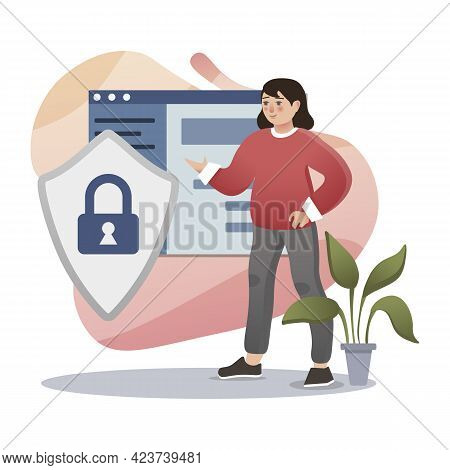 Online Privacy. Isolated Flat Style Colored Illustration. Cloud Storage, Online Base, Marketing Solu