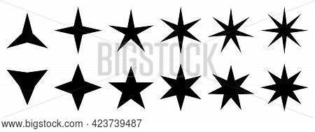 Set Of Star Icons. Stars Symbols With Different Pointed: Three, Four, Five, Six, Seven, Eight. Vecto