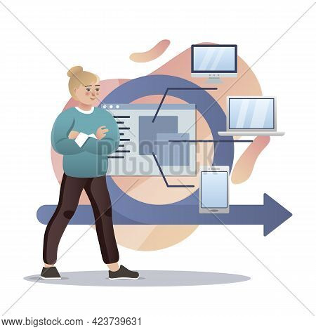 Agile. Isolated Flat Style Colored Illustration. Cloud Storage, Online Base, Marketing Solution. A M