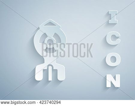 Paper Cut Nuclear Bomb Icon Isolated On Grey Background. Rocket Bomb Flies Down. Paper Art Style. Ve