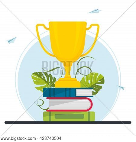 Golden Cup, Trophy On A Stack Of Book. Achievement In Education, Study Award, Distance Learning, Bus