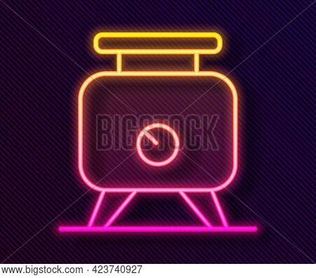 Glowing Neon Line Metal Tank With Grape Juice As Alcoholic Fermentation Icon Isolated On Black Backg