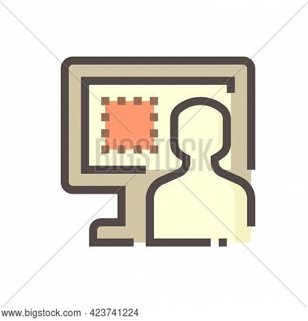 Land Registration Check Online Vector Icon. Consist Of Computer Pc, Lawyer Or Agent,  Title Deed Or