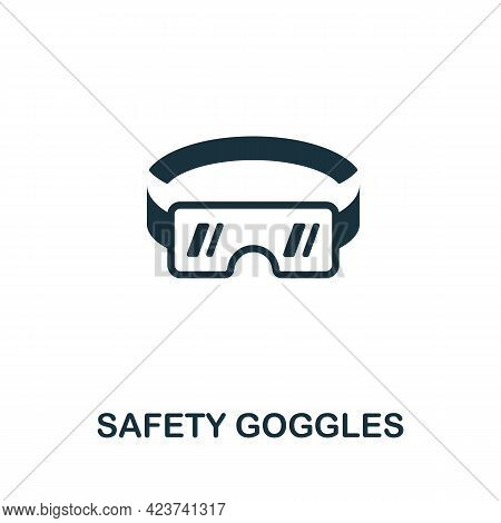 Safety Goggles Icon. Monochrome Simple Element From Manufacturing Collection. Creative Safety Goggle