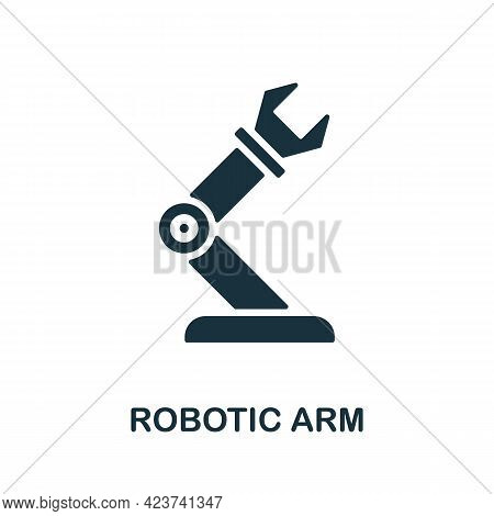 Robotic Arm Icon. Monochrome Simple Element From Manufacturing Collection. Creative Robotic Arm Icon
