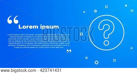 White Line Unknown Search Icon Isolated On Blue Background. Magnifying Glass And Question Mark. Vect