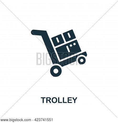 Trolley Icon. Monochrome Simple Element From Manufacturing Collection. Creative Trolley Icon For Web