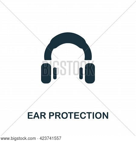 Ear Protection Icon. Monochrome Simple Element From Manufacturing Collection. Creative Ear Protectio