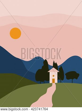 Landscape Abstract Boho With House, Mountain. Aesthetic Minimal Nature European Background With Sun,