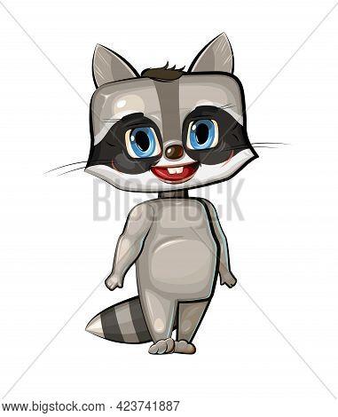 Raccoon. Cartoon Style. Young Cub. Vector. Cute Baby.