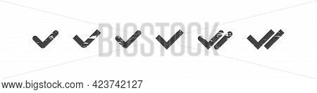 Checkmark Tick Grunge Collection, Grungy Check Approval And Read Message, Tick Set In Sipmple Black
