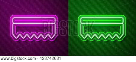 Glowing Neon Line Sponge Icon Isolated On Purple And Green Background. Wisp Of Bast For Washing Dish