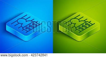 Isometric Line Suspect Criminal Icon Isolated On Blue And Green Background. The Criminal In Prison,