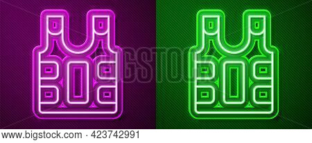 Glowing Neon Line Bulletproof Vest For Protection From Bullets Icon Isolated On Purple And Green Bac