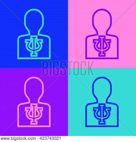 Pop Art Line Psychology Icon Isolated On Color Background. Psi Symbol. Mental Health Concept, Psycho