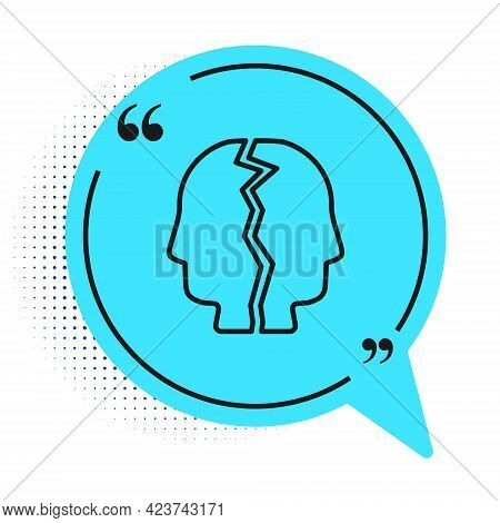 Black Line Bipolar Disorder Icon Isolated On White Background. Blue Speech Bubble Symbol. Vector