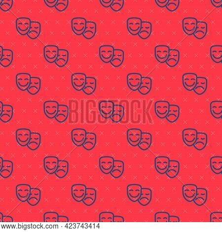 Blue Line Comedy And Tragedy Theatrical Masks Icon Isolated Seamless Pattern On Red Background. Vect