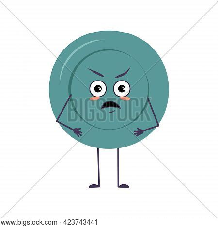 Cute Plate Character With Angry Emotions, Face, Arms And Legs. The Funny Or Grumpy Dish With Eyes Fo
