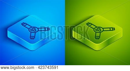 Isometric Line Skateboard Y-tool Icon Isolated On Blue And Green Background. Square Button. Vector