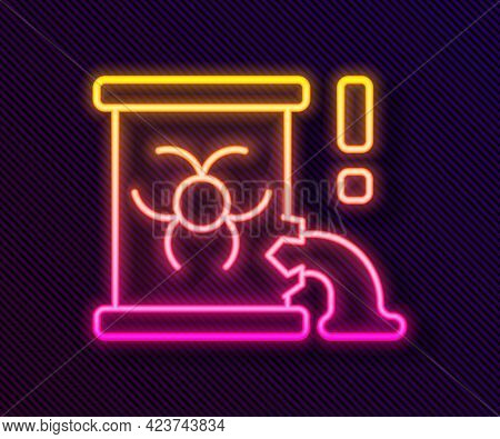Glowing Neon Line Radioactive Waste In Barrel Icon Isolated On Black Background. Barrel With Radioac