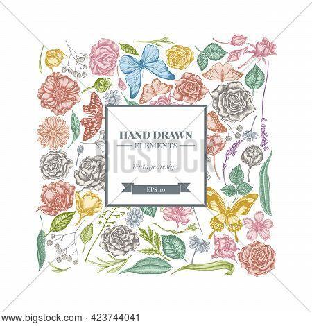 Square Floral Design With Pastel Shepherd S Purse, Heather, Iris Japonica, Sakura, Gypsophila, Chamo