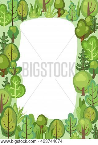 Flat Forest. Frame. Illustration In A Simple Symbolic Style. Glade. Funny Green Landscape. Comic Car