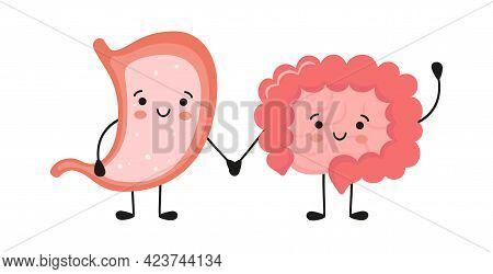 Healthy Happy Smiling Stomach And Intestine Characters Hold Hands. Symbol Of Stomach And Intestine H
