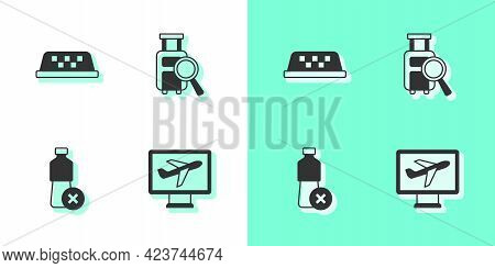 Set Plane, Taxi Car Roof, No Water Bottle And Lost Baggage Icon. Vector
