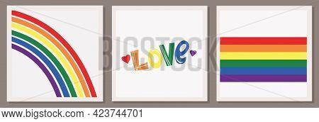 Set Of Three Vector Illustrations Of Lgbt Community. Heart, Rainbow And Flag. Love Inscription. Lgbt