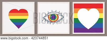 Set Of Three Vector Illustrations Of The Lgbt Community. Hand With Heart, Rainbow And Eye. Love Lett