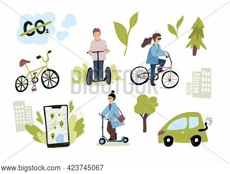 Eco Urban City Transport Set. Woman Riding Electric Kick Scooter, Bicycles, Using Rental Service Mob