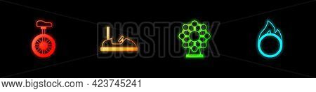 Set Unicycle Or One Wheel Bicycle, Bumper Car, Ferris And Circus Fire Hoop Icon. Vector