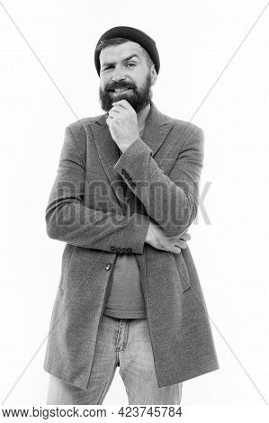 Menswear And Male Fashion Concept. Man Bearded Hipster Stylish Fashionable Coat And Hat. Stylish Out