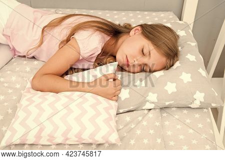 Choose Proper Pillow To Relax Well. Healthy Sleep Tips. Girl Sleeps On Little Pillow Bedclothes Back