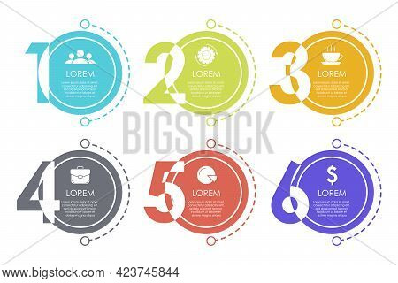 Business Infographic Template. Design With Numbers. Abstract Vector With 6 Options Or Steps. Illustr