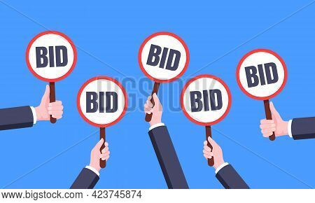 Hand Hold Round Auction Bid Paddle Banner Plate Sign Business Concept Flat Style Design Vector Illus