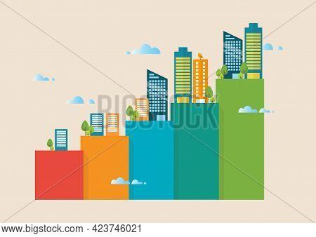 Urban Growth Bar Chart. Vector Illustration Graphic Design