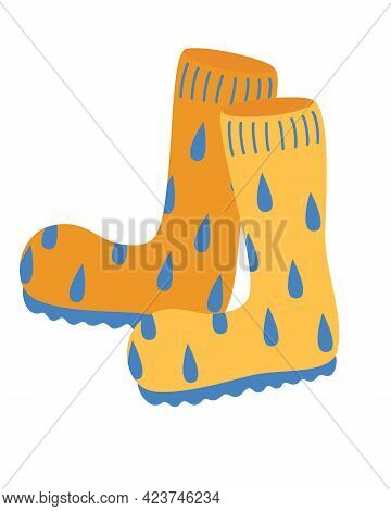 Orange Rubber Boots. Autumn Boots With Water Droplets. Garden And Perfect Shoes For Rainy Weather. C
