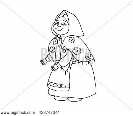 A Kind Old Woman On A White Background. Cartoon. Vector Illustration.