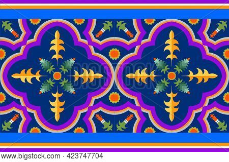 Purple And Red Color Bohemian Fabric Pattern , For Book Cover And Design Cloth Of Indian Style. Trib