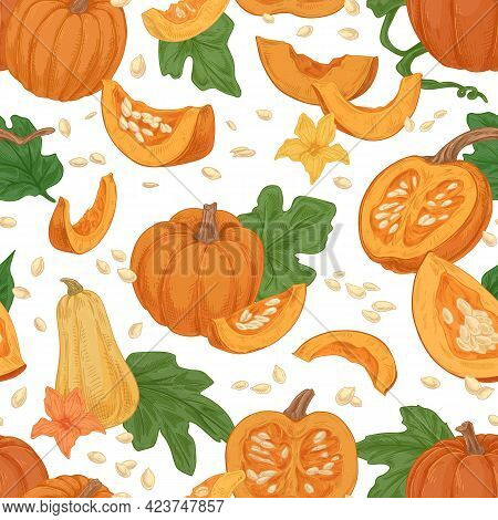 Seamless Fall Pattern With Pumpkins, Squashes, Leaves, Seeds On White Background. Repeating Texture
