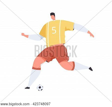 Football Player In Uniform Running To Kick Ball With Foot. Abstract Footballer Playing Soccer. Sport