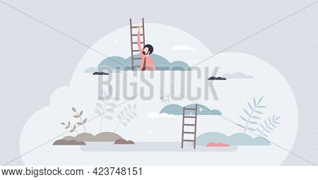 Aspiration To Reach High Goals And Business Targets Tiny Person Concept. Climbing Above Clouds As Bi