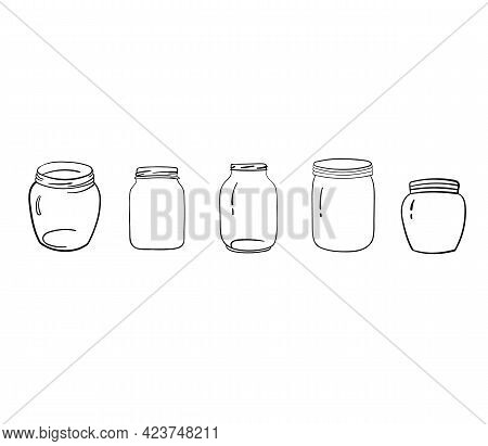 Glass Empty Mason Jars Without Lids. Set Transparent Containers. Vector Illustration In Style Outlin