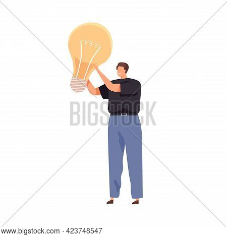 Tiny Person With Big Light Bulb As Symbol Of Creative Idea. Man And Lightbulb. Concept Of Creativity