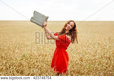 Style Redhead Young Woman In Red Dress Tay View Yellow Wheat Field Happy Girl With Curly Hair In Fie