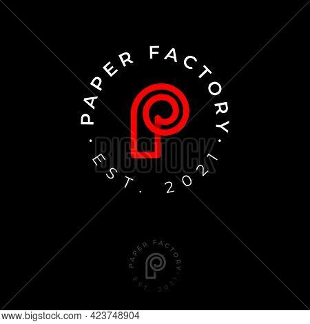 P Monogram. P Logo. Paper Factory Emblem. Letter P As A Paper Roll. Wall Paper Icon.